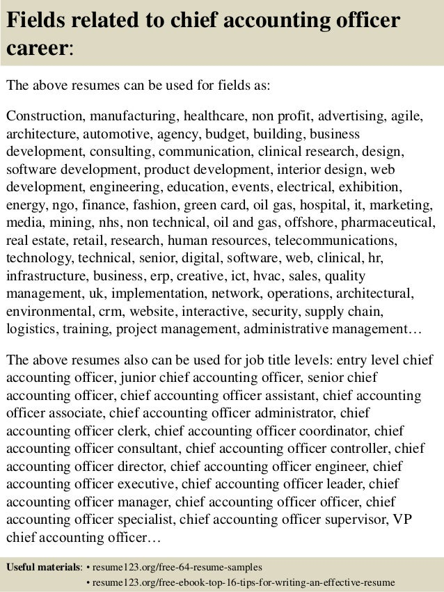 ... 16. Fields Related To Chief Accounting Officer Career: The Above Resumes  ...