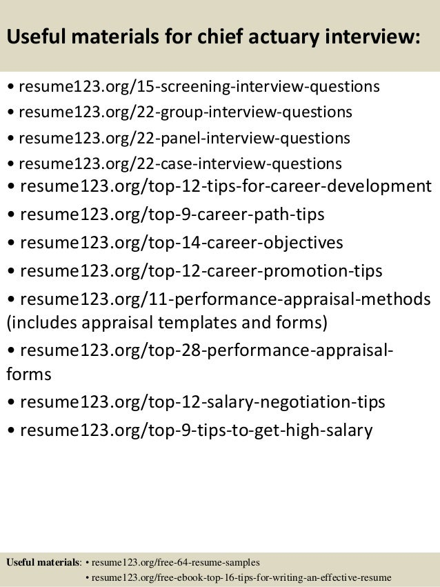 Top 8 Chief Actuary Resume Samples