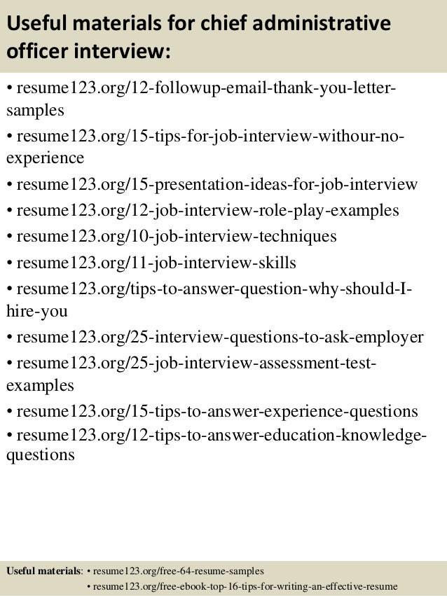Top 8 chief administrative officer resume samples