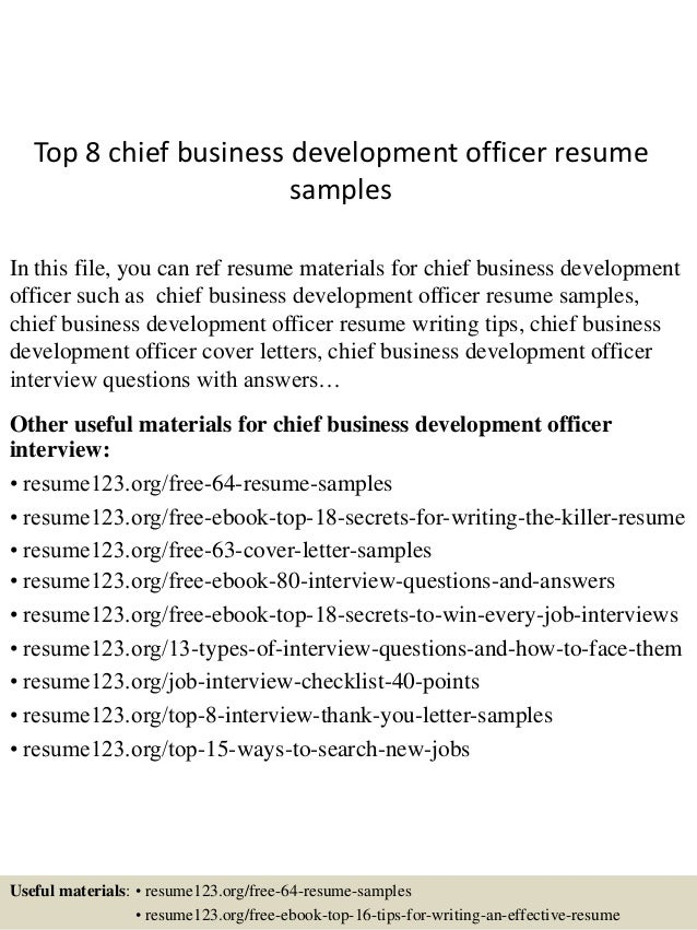 Top 8 Chief Business Development Officer Resume Samples In This File, You  Can Ref Resume ...  Business Development Resume Sample