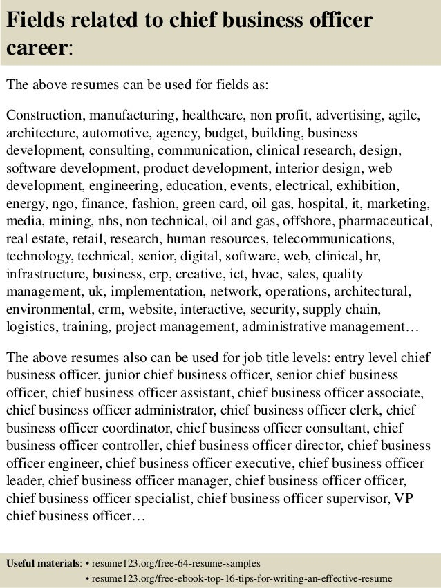 Fields related to chief business officer career: The above resumes can be used for fields as: Construction, manufacturing,...