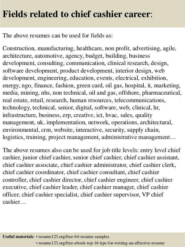 Chief Cashier Resume  Resumes For Cashiers
