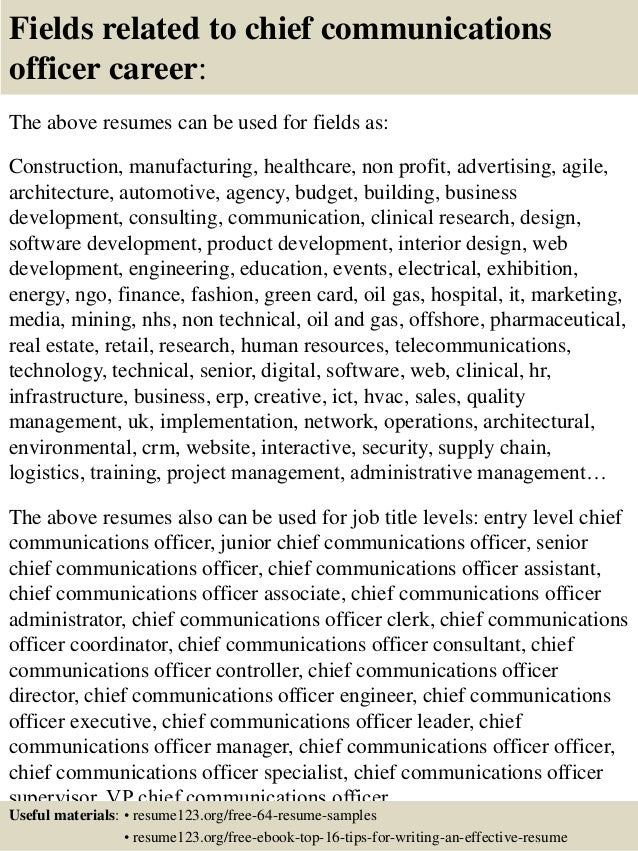 top 8 chief communications officer resume samples