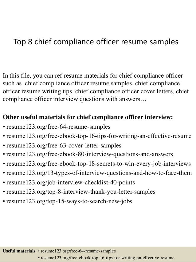 Awesome Top 8 Chief Compliance Officer Resume Samples In This File, You Can Ref  Resume Materials ... And Compliance Officer Resume