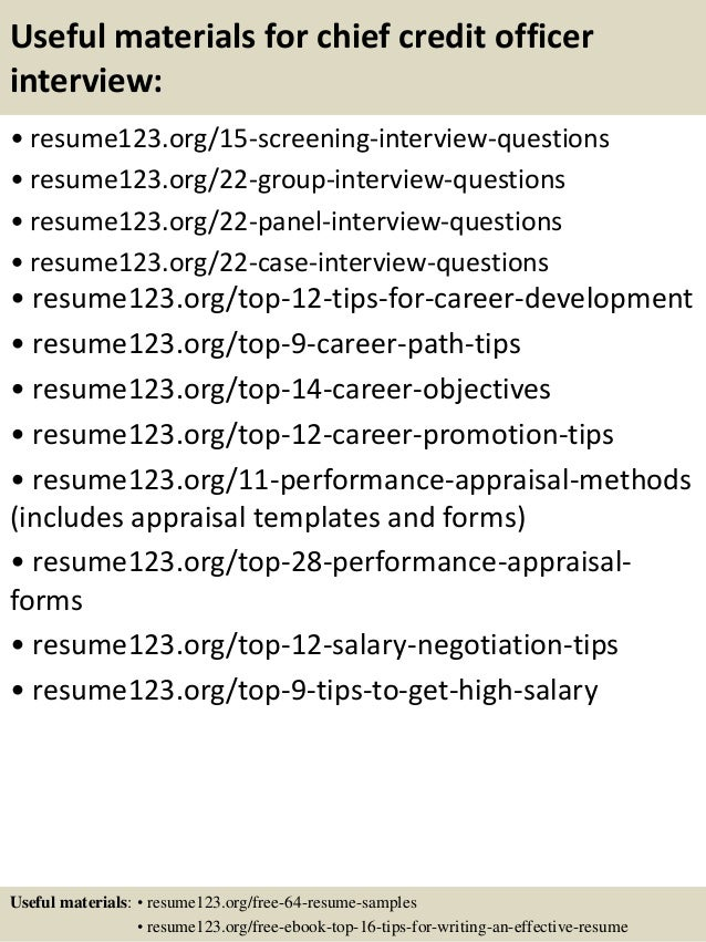 Top 8 chief credit officer resume samples
