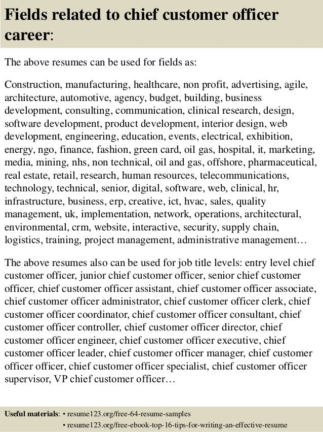 top 8 chief customer officer resume samples