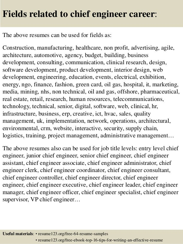 16 fields related to chief engineer - Chief Engineer Sample Resume