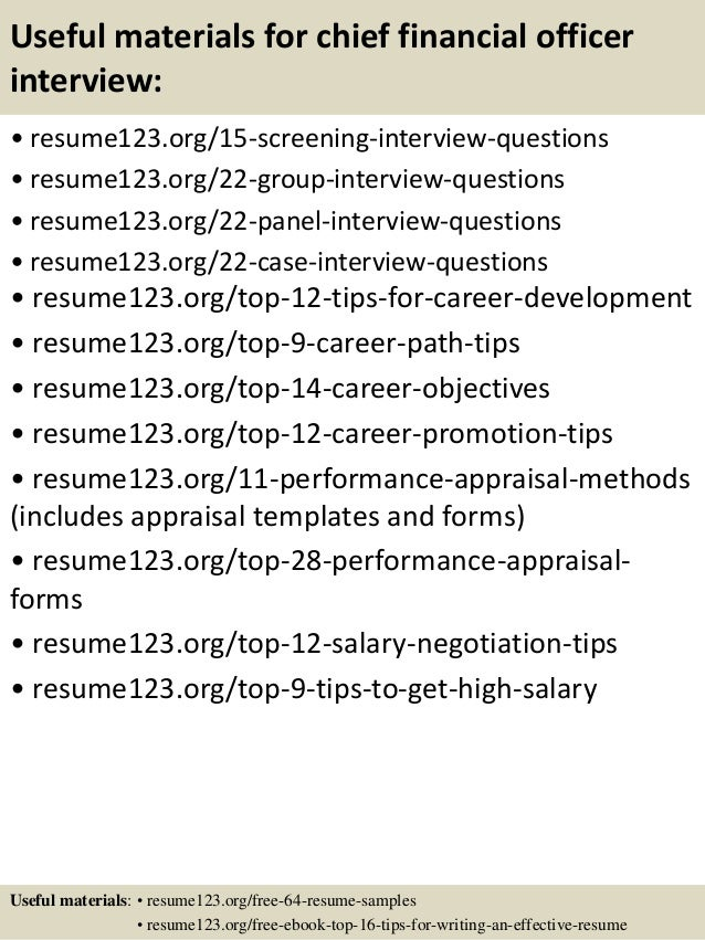 ... 15. Useful Materials For Chief Financial Officer ...  Chief Financial Officer Resume