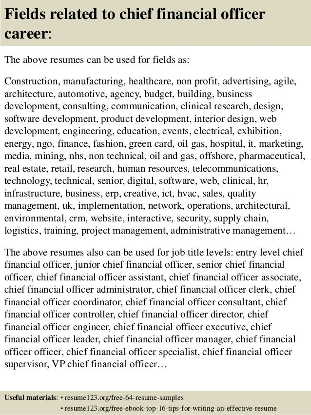 ... 16. Fields Related To Chief Financial Officer ...  Chief Financial Officer Resume