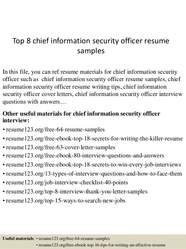 Top 8 Chief Information Security Officer Resume Samples In This File, You  Can Ref Resume ...  Security Resume