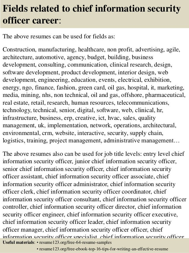 16 fields related to chief information security officer - Chief Information Security Officer Sample Resume