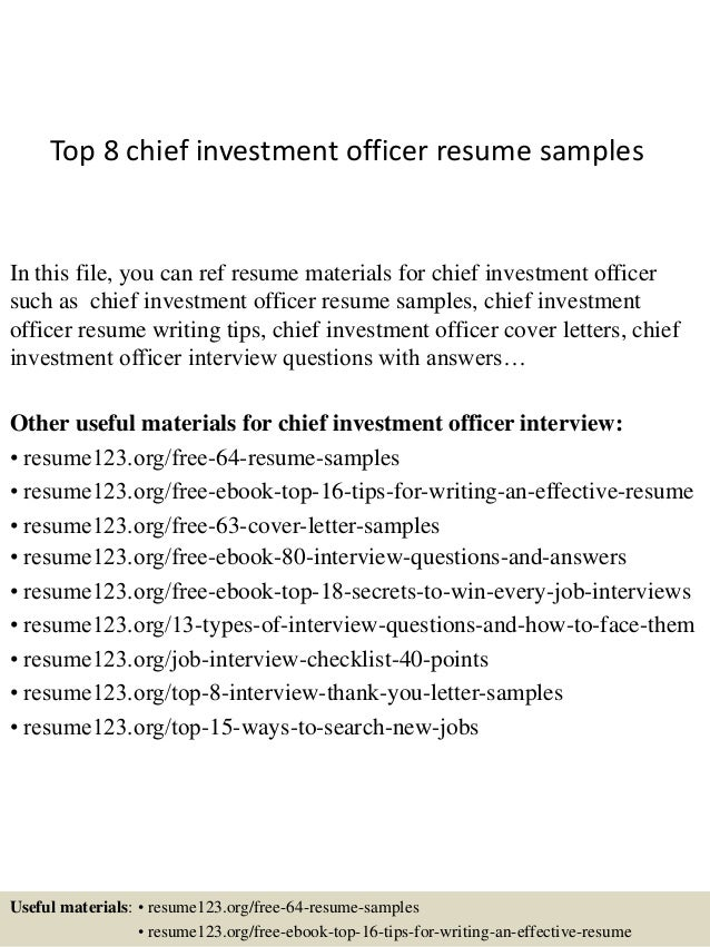 Top 8 Chief Investment Officer Resume Samples