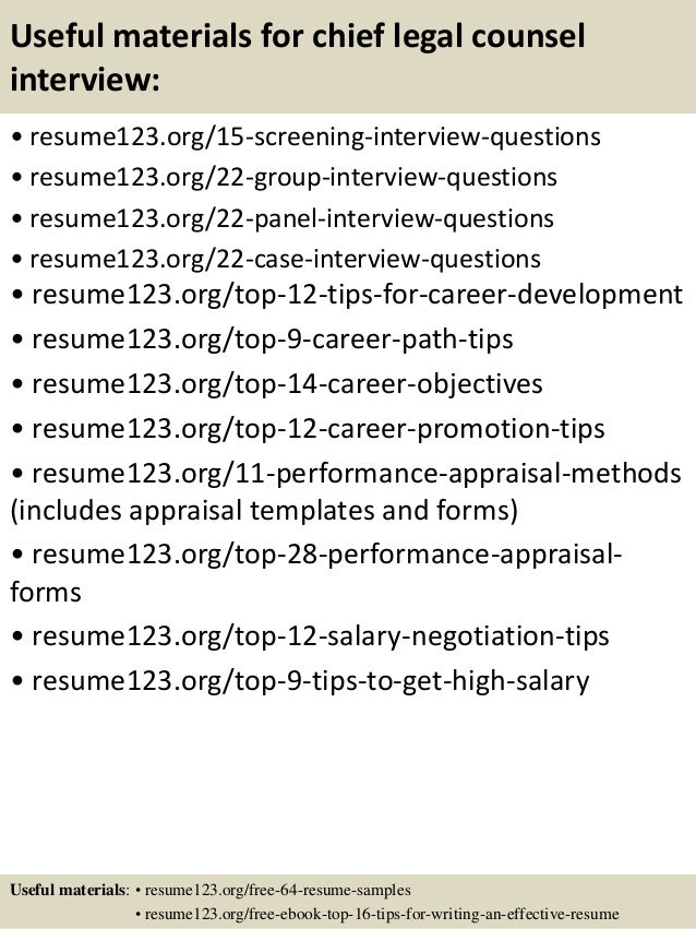 Top 8 chief legal counsel resume samples