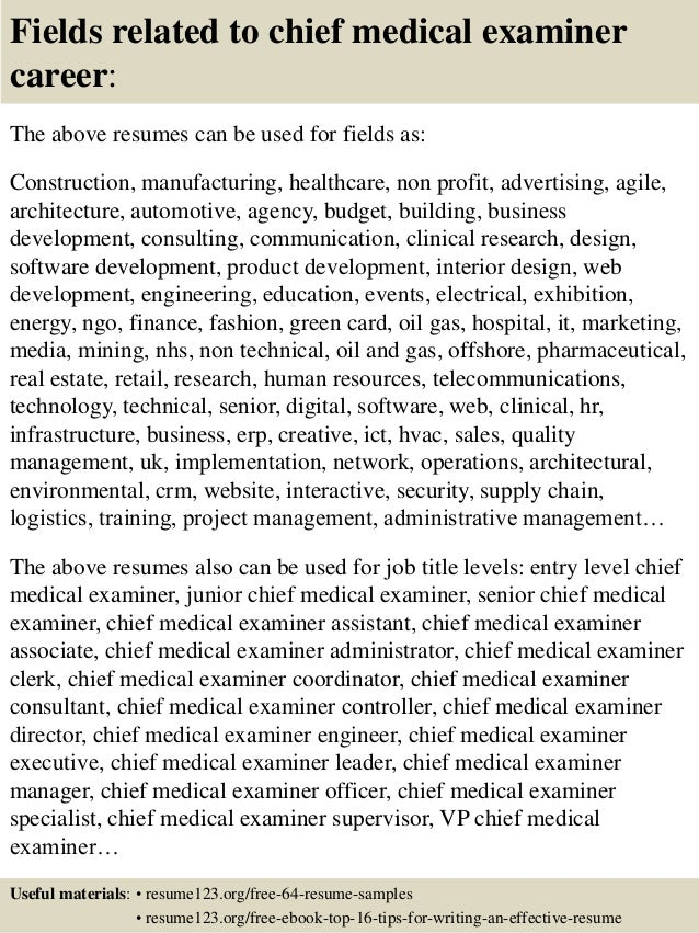 Top 8 chief medical examiner resume samples