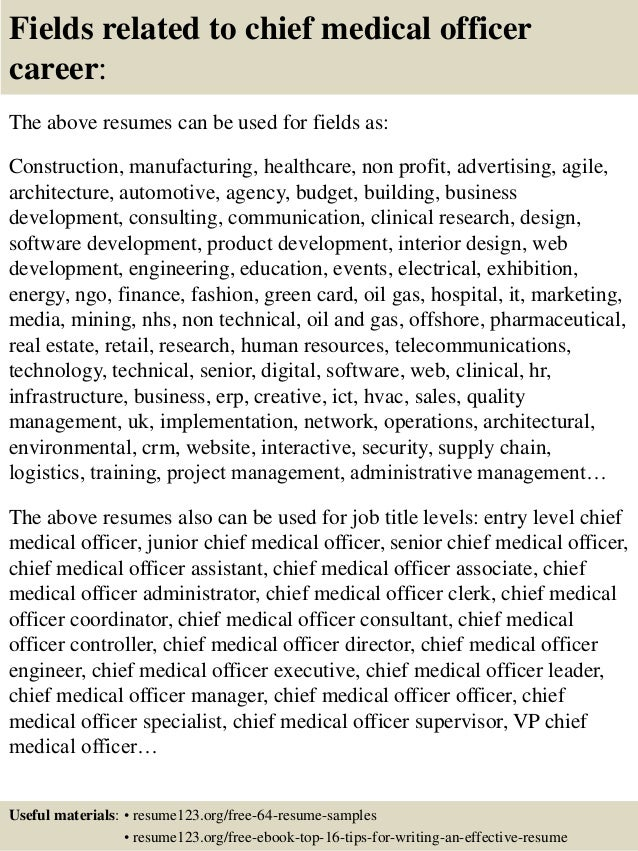 top 8 chief medical officer resume samples