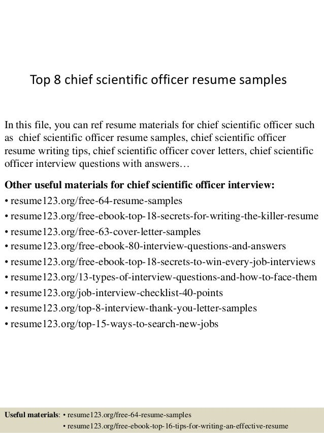 top 8 chief scientific officer resume samples in this file you can ref resume materials