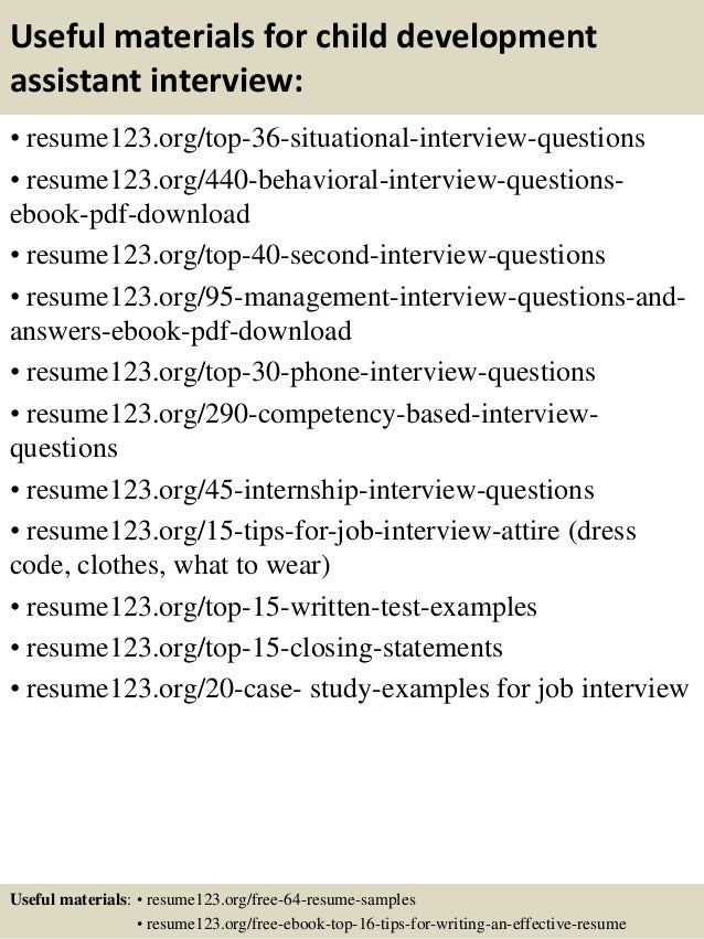 Top 8 child development assistant resume samples