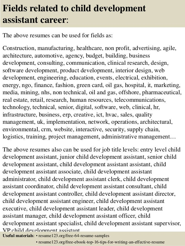 Lovely ... 16. Fields Related To Child Development ... Ideas Child Development Resume