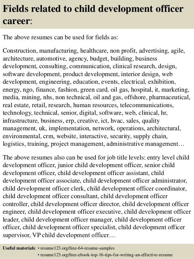 Top 8 child development officer resume samples
