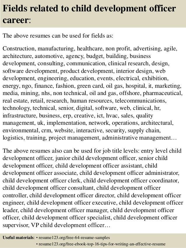 ... 16. Fields related to child development ...