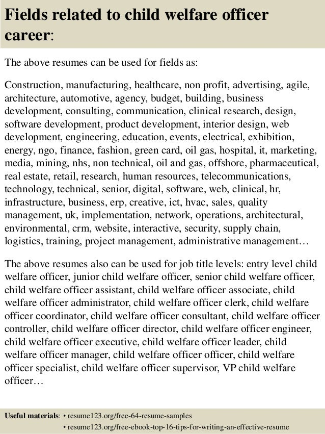 16 fields related to child welfare - Child Welfare Specialist Sample Resume