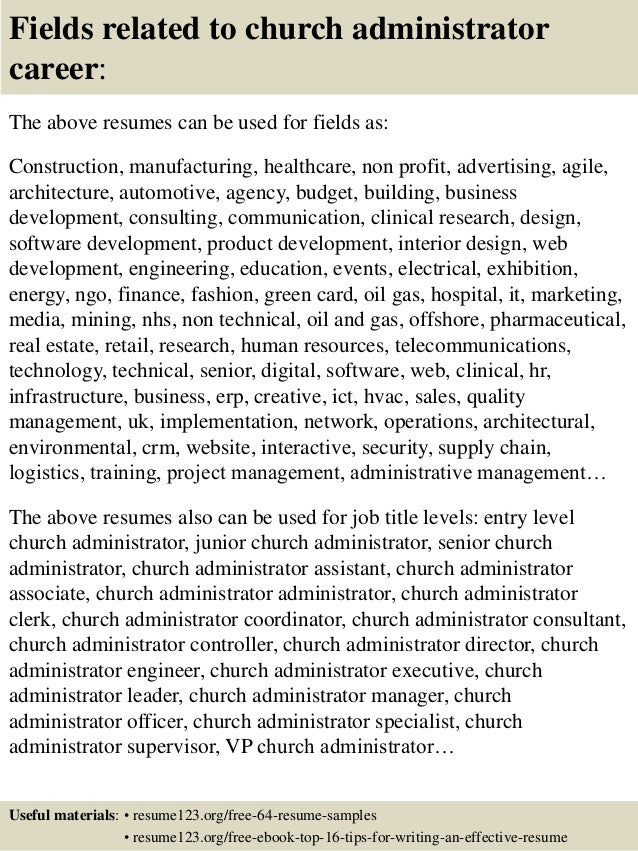 16 fields related to church administrator church administrator salary