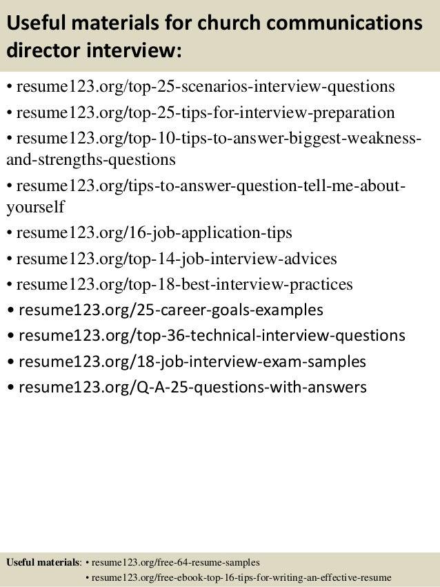 Sample Resume Communications Director