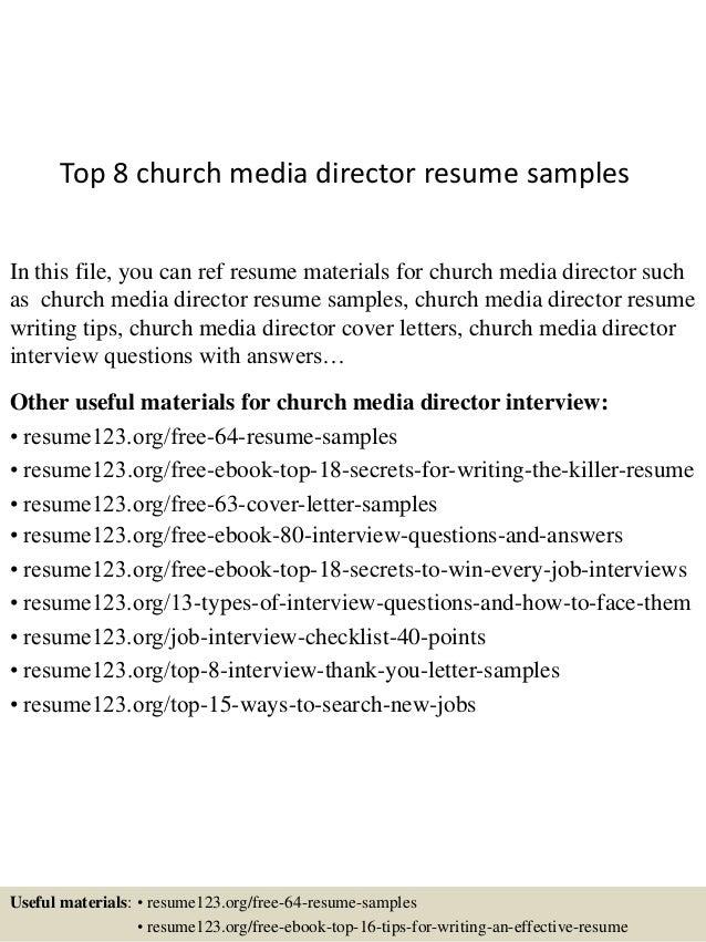 top 8 church media director resume sles