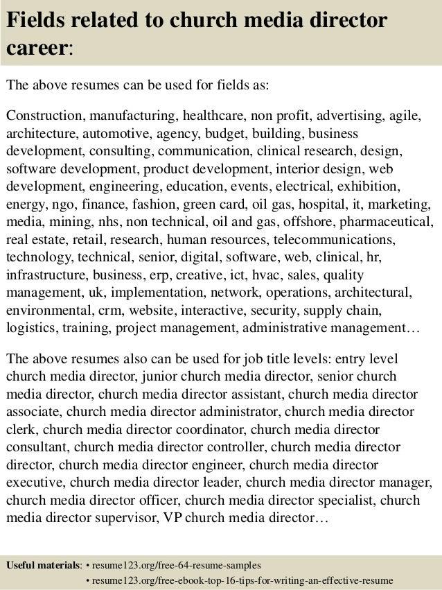 Top 8 church media director resume samples