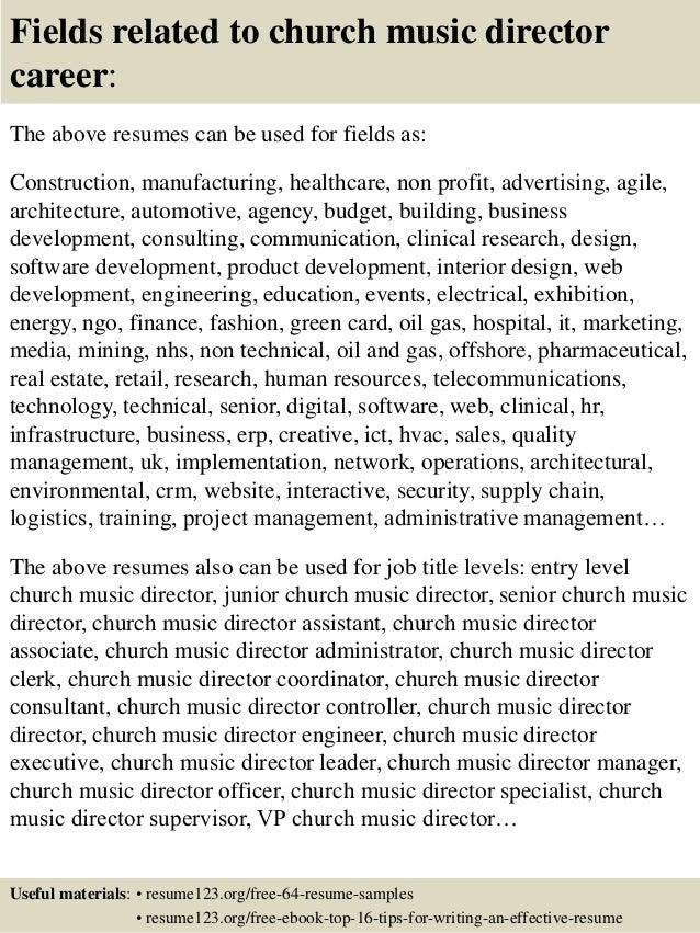 top 8 church music director resume samples