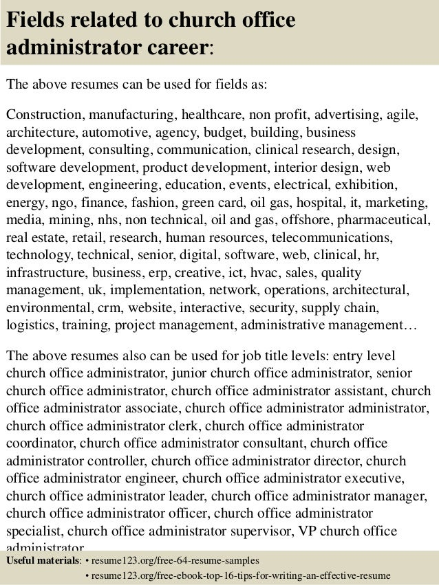 ... 16. Fields Related To Church Office Administrator ...  Office Administrator Resume Sample