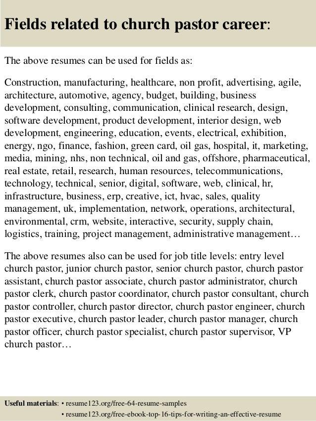 top 8 church pastor resume samples