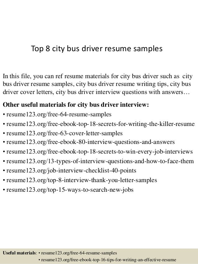 top 8 city bus driver resume samples