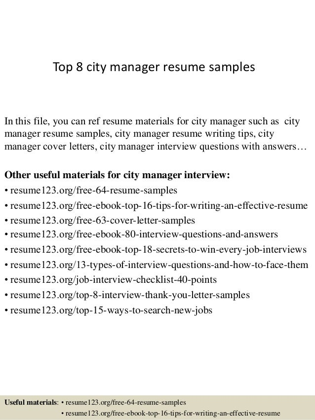 city manager resumes