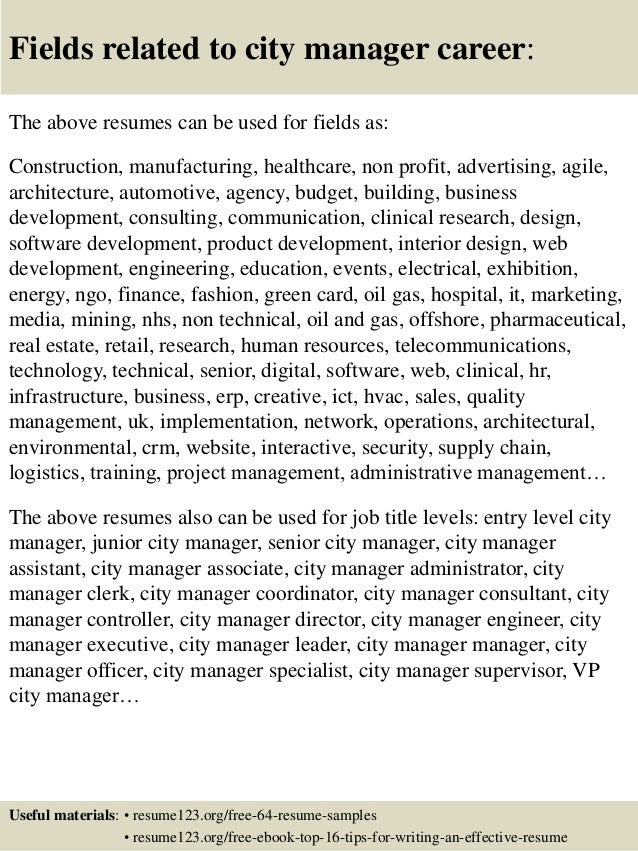 Free Resume Assistant City Manager Resume