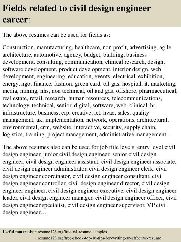 16 fields related to civil design engineer - Medical Design Engineer Sample Resume