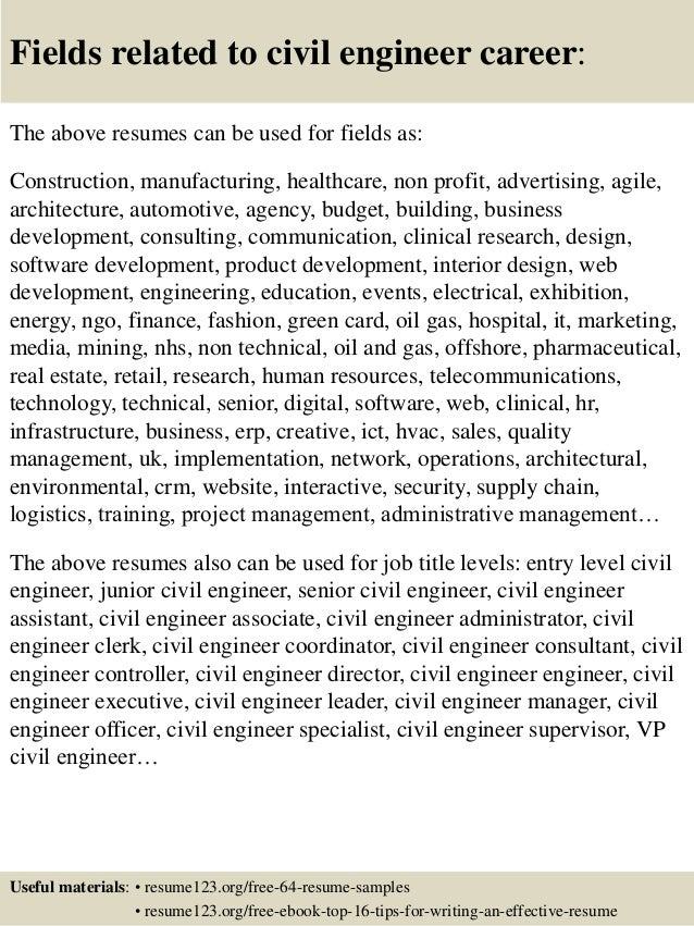 ... 16. Fields Related To Civil Engineer ...  Civil Engineering Resume Examples