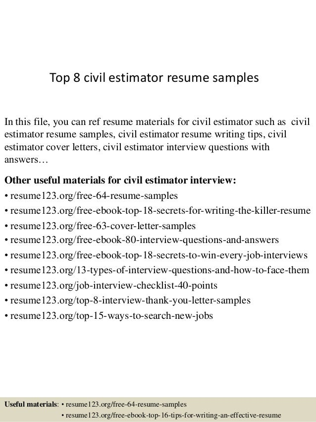 Top 8 Civil Estimator Resume Samples 1 638 Jpg Cb 1432976402