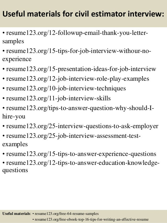 Top 8 civil estimator resume samples