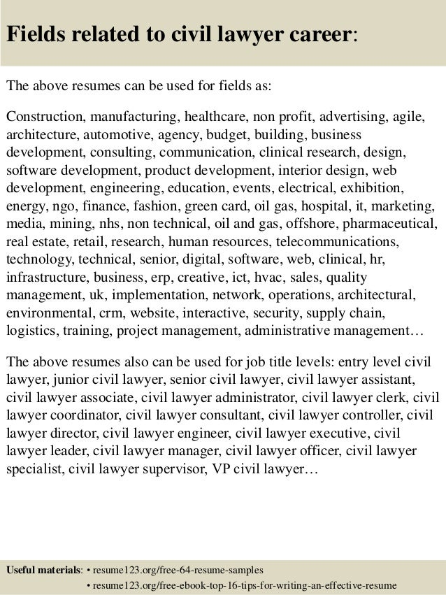 Top 8 civil lawyer resume samples