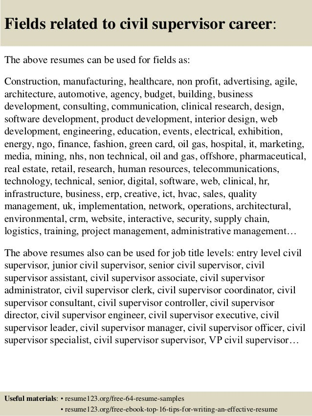 Ordinaire ... 16. Fields Related To Civil Supervisor Career: The Above Resumes ...