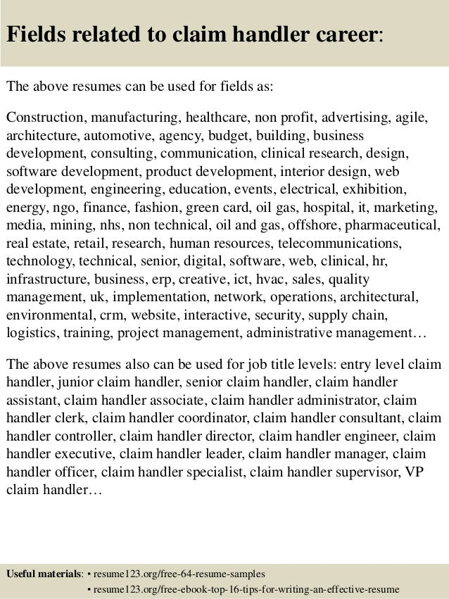 Claims Handler Cover Letter