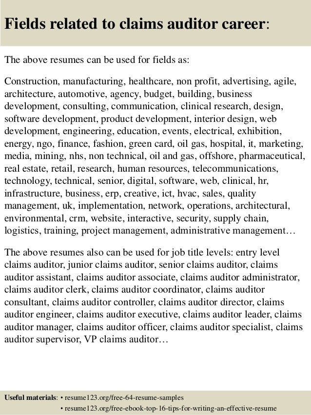 16 fields related to claims auditor - Claims Auditor Sample Resume