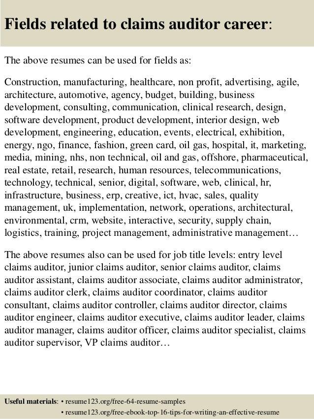 insurance auditor resumes