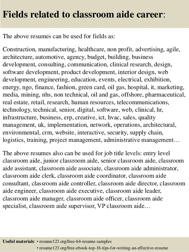 Top  Classroom Aide Resume Samples