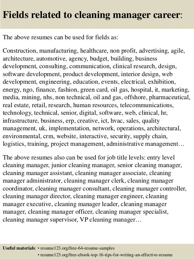 16 fields related to cleaning - Sample Resume For Cleaner