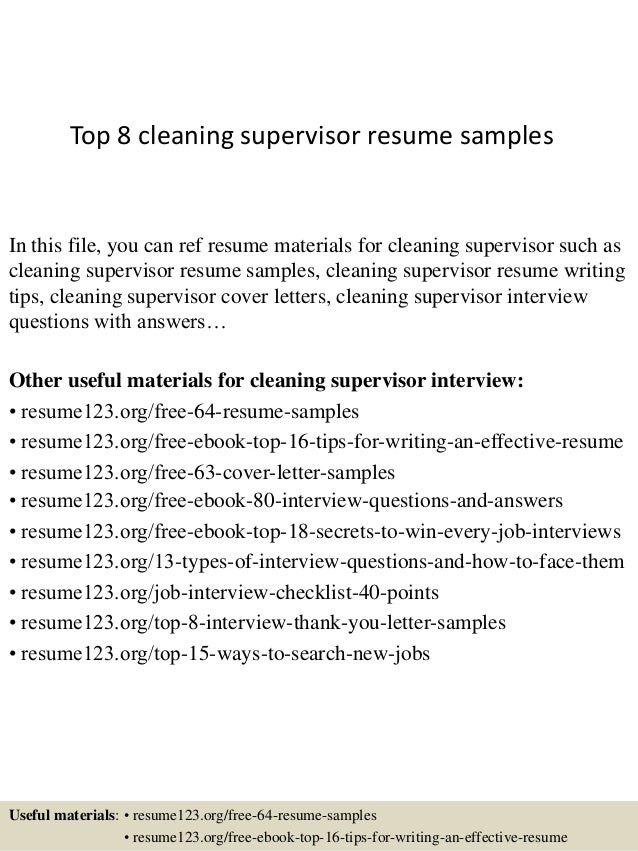 top 8 cleaning supervisor resume samples in this file you can ref resume materials for - Supervisor Resume Templates
