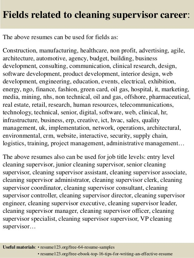 16 Fields Related To Cleaning Supervisor