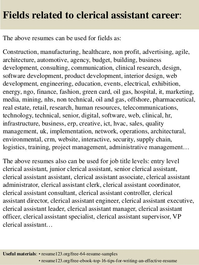 16 fields related to clerical assistant - Clerical Assistant Sample Resume