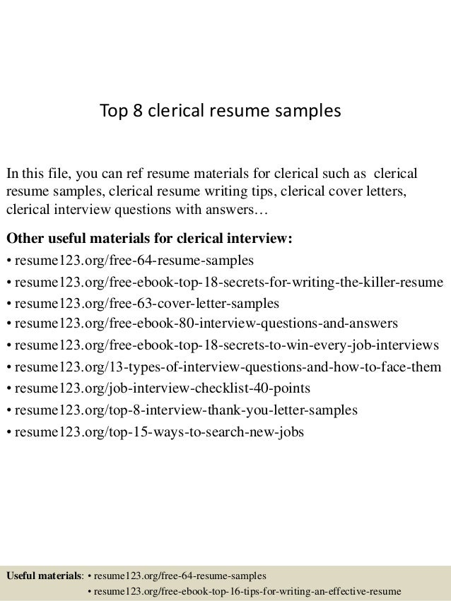 top 8 clerical resume samples in this file you can ref resume materials for clerical - Clerical Cover Letters